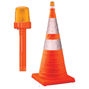 28″ Collapsible Traffic Cone & Optional Light